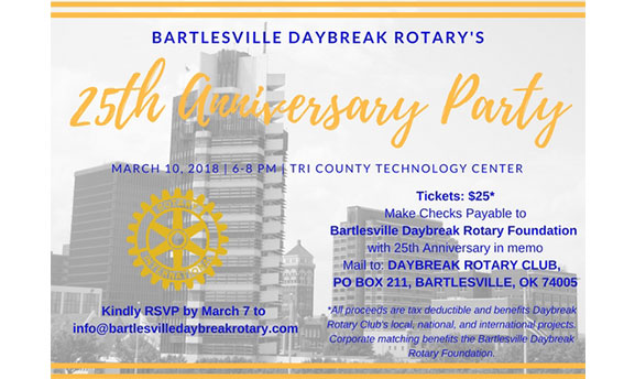 Join us and celebrate Daybreak Rotary's 25th Anniversary